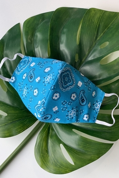 Chynna Dolls Face Mask: Reversible In Turquoise Bandanna x Turquoise - Product List Image