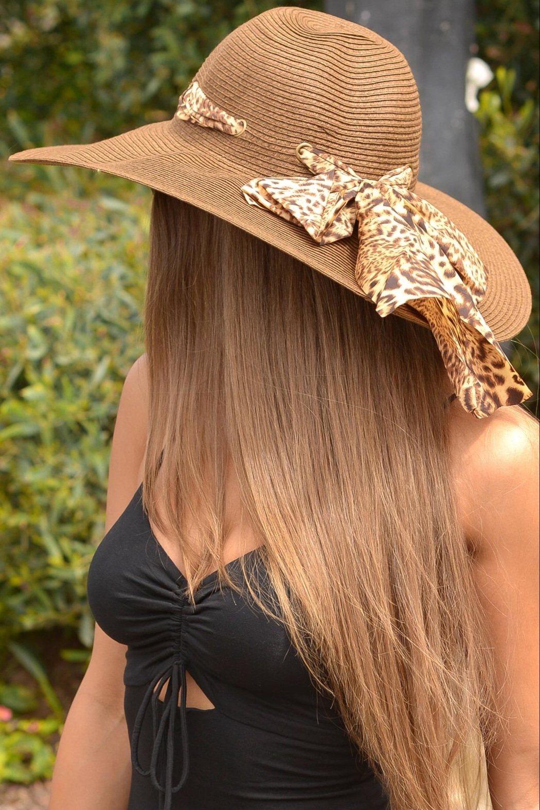 Chynna Dolls Floppy Hat With Leopard Scarf - Front Full Image