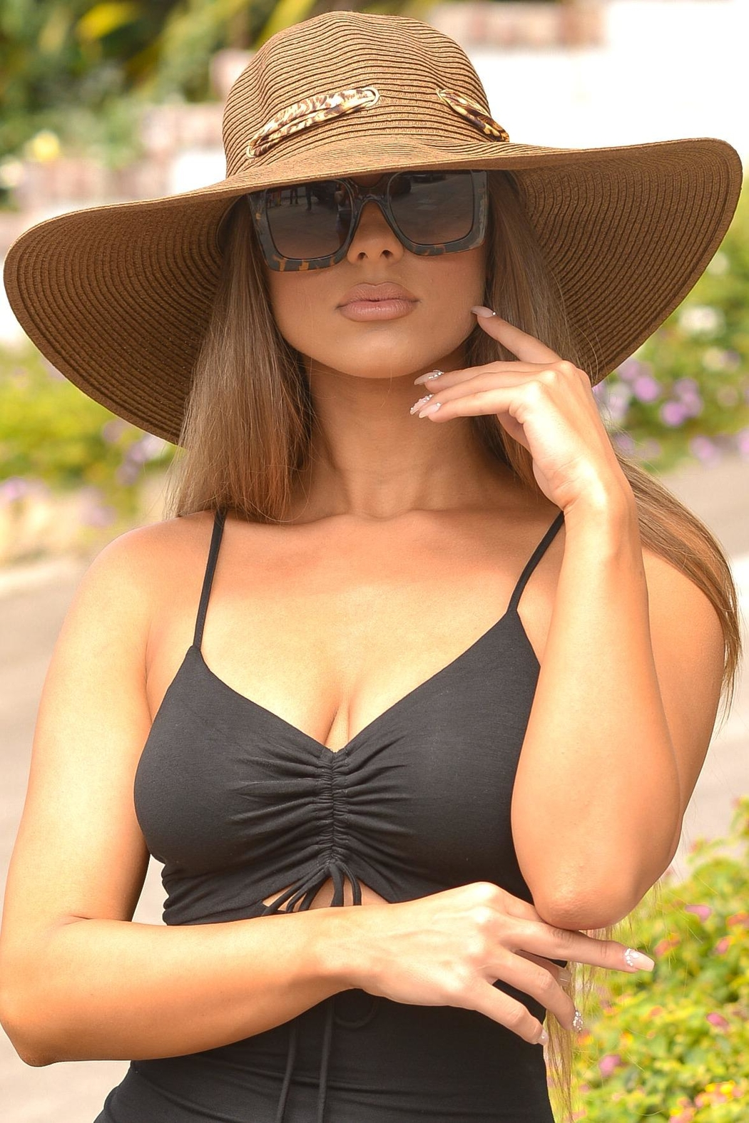 Chynna Dolls Floppy Hat With Leopard Scarf - Main Image