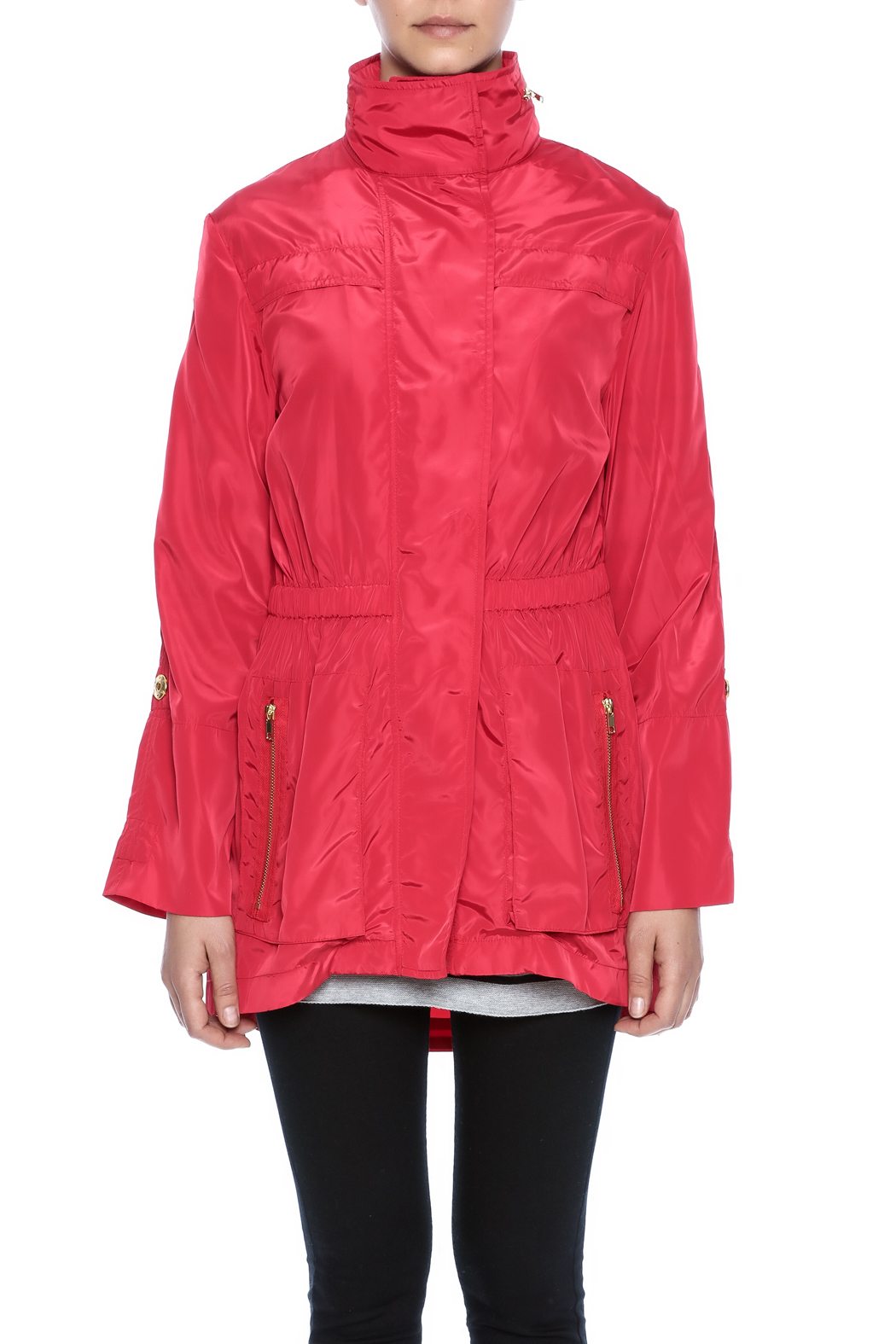 Ciao Milano Red Hooded Jacket - Side Cropped Image