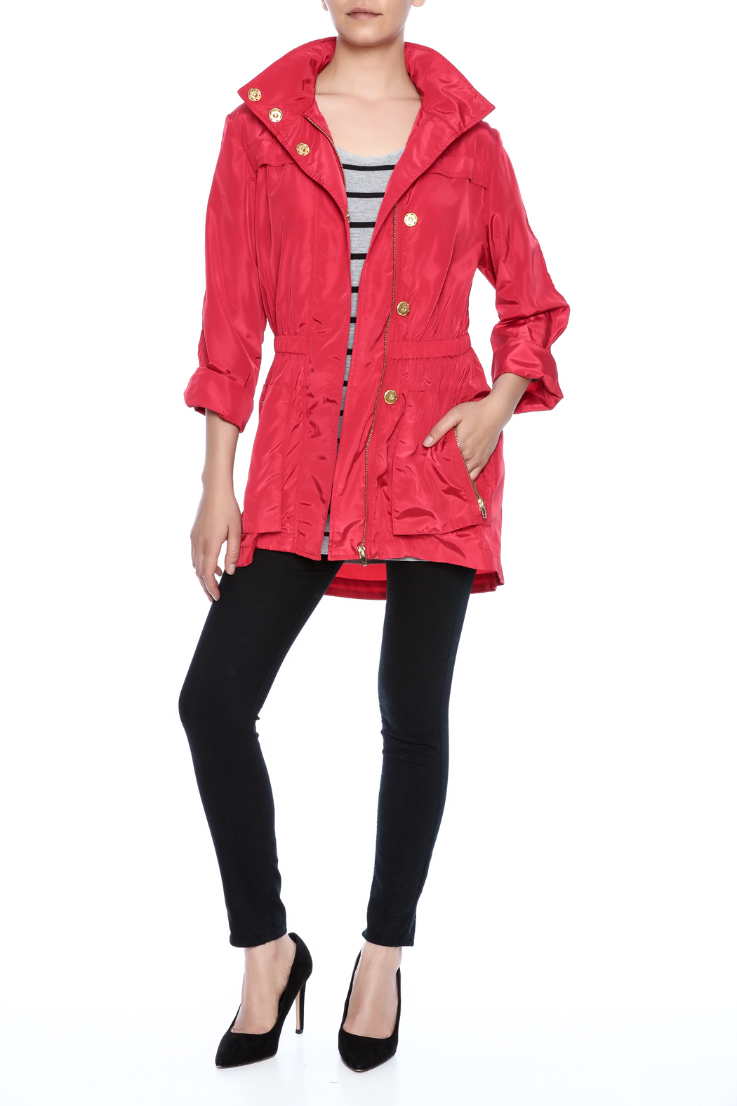 Ciao Milano Red Hooded Jacket - Front Full Image