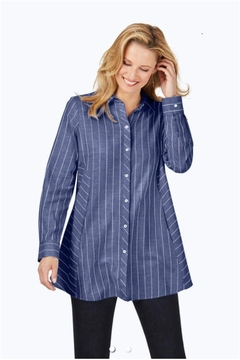 Foxcroft Cici Brushed Herringbone Tunic Blouse - Product List Image