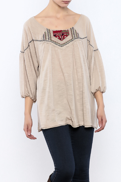 Ciel Boho Taupe Embroidered Top - Product List Image