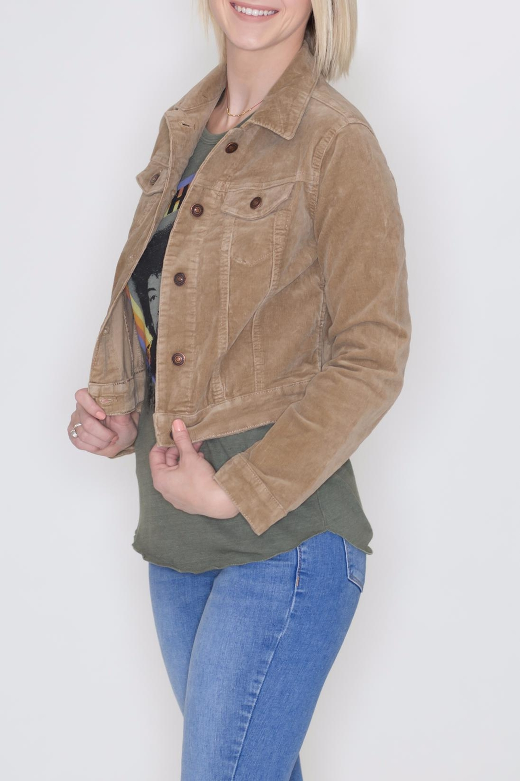 Cielo Cropped Corduroy Jacket - Front Full Image