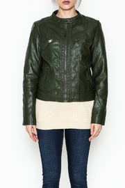 Cielo Hooded Vegan Leather Jacket - Front full body