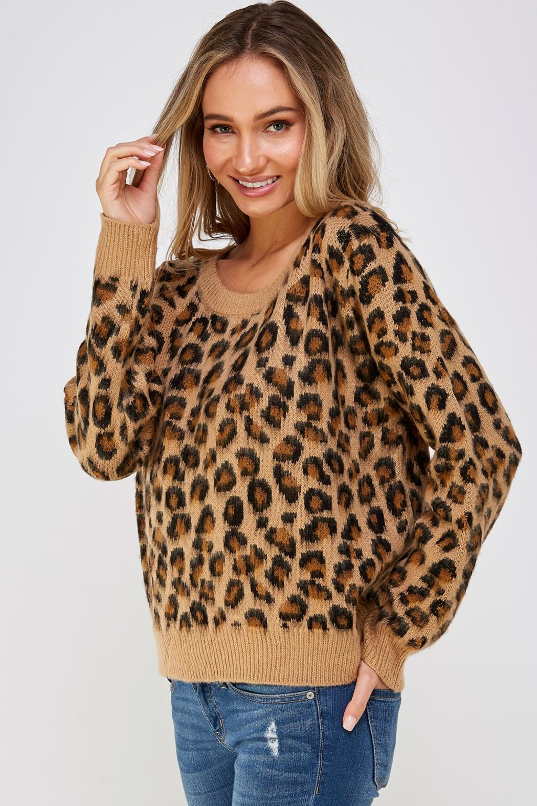Cien Cheetah Print Sweater - Side Cropped Image