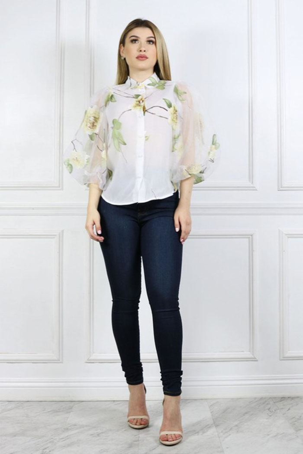 Cien Floral Organza Blouse - Side Cropped Image