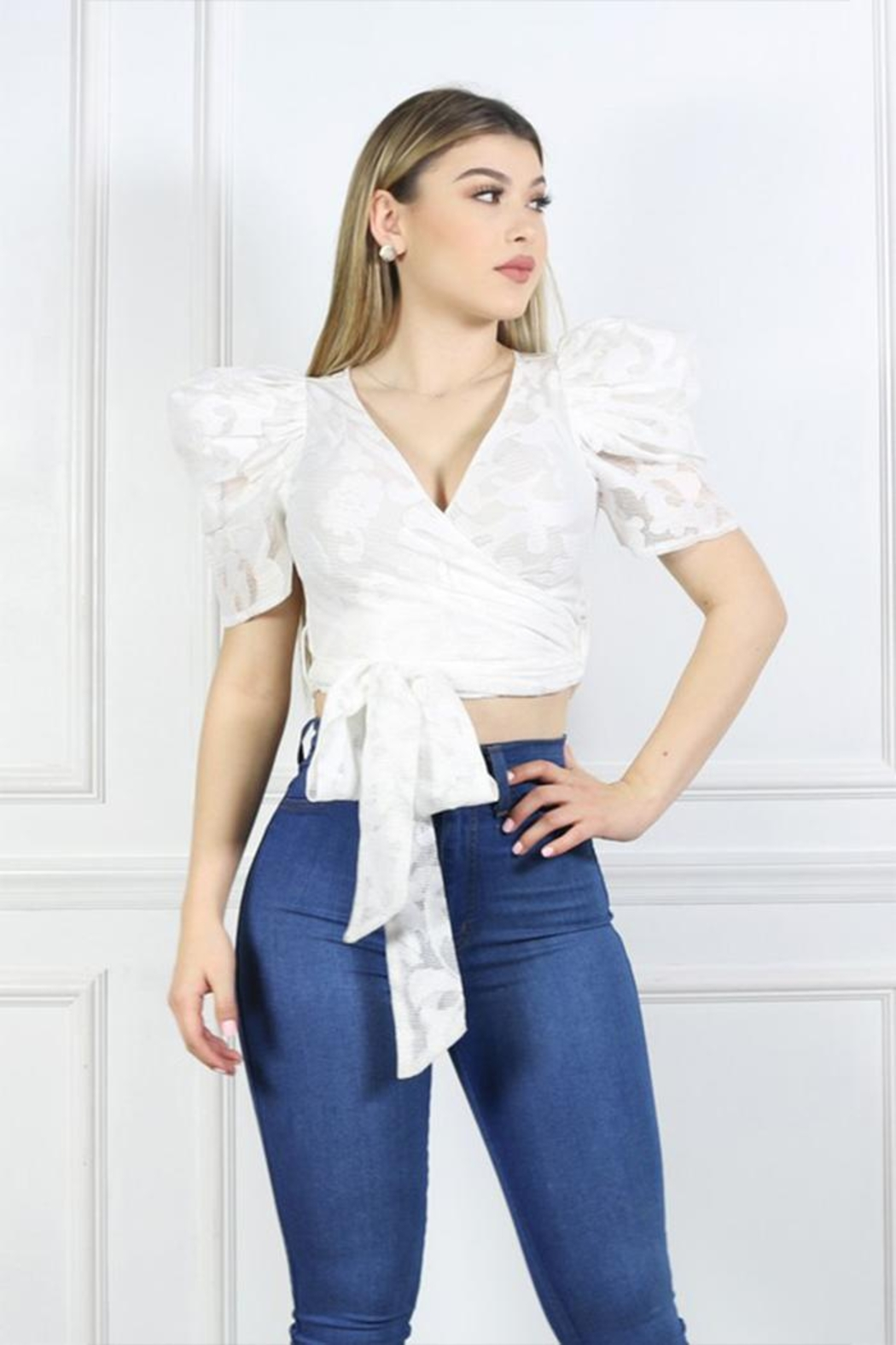 Cien Puff Sleeve Top - Front Full Image