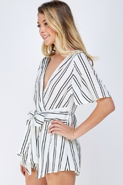 Cien Striped Wrap Romper - Side cropped