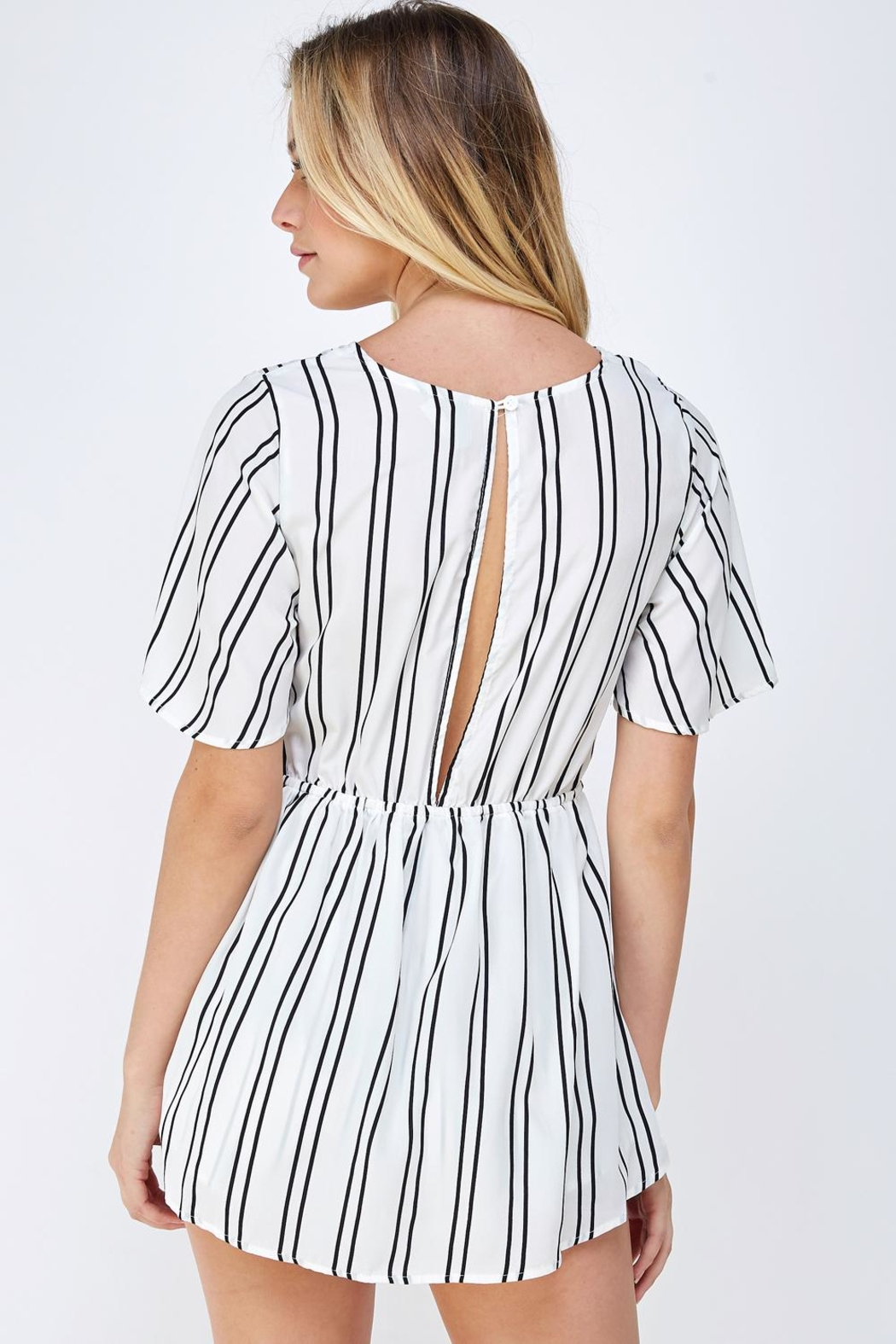 Cien Striped Wrap Romper - Back Cropped Image