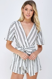 Cien Striped Wrap Romper - Front cropped