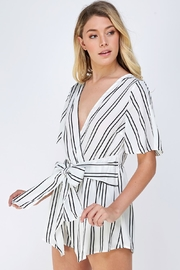 Cien Striped Wrap Romper - Front full body