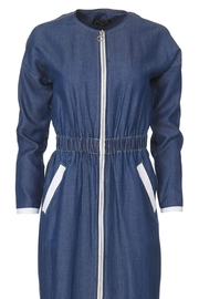 Perfetto Cinch Waist Denim Zipper Knee Length Dress - Product Mini Image