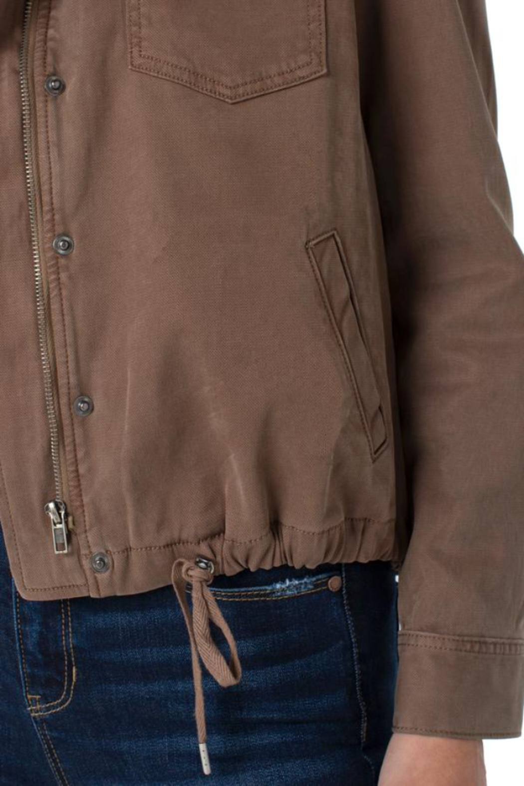 Liverpool  Cinch Waist Jacket With Patch Pockets - Front Full Image