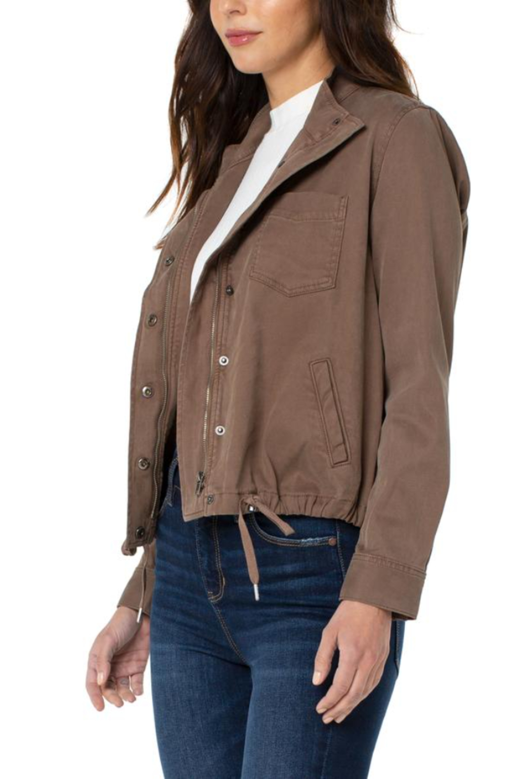 Liverpool  Cinch Waist Jacket With Patch Pockets - Main Image