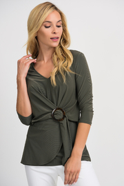Joseph Ribkoff Cinch Waist Top, Avocado - Product Mini Image