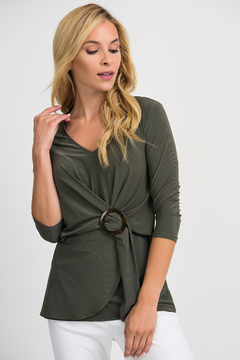Joseph Ribkoff Cinch Waist Top, Avocado - Product List Image