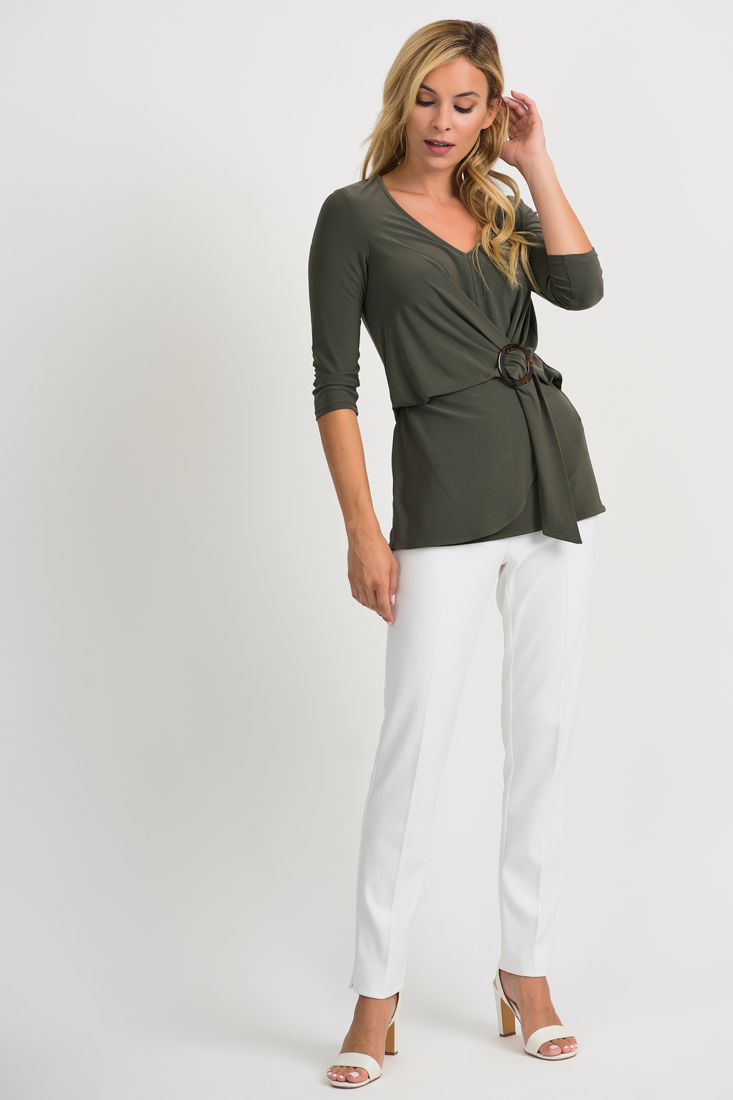Joseph Ribkoff Cinch Waist Top, Avocado - Back Cropped Image