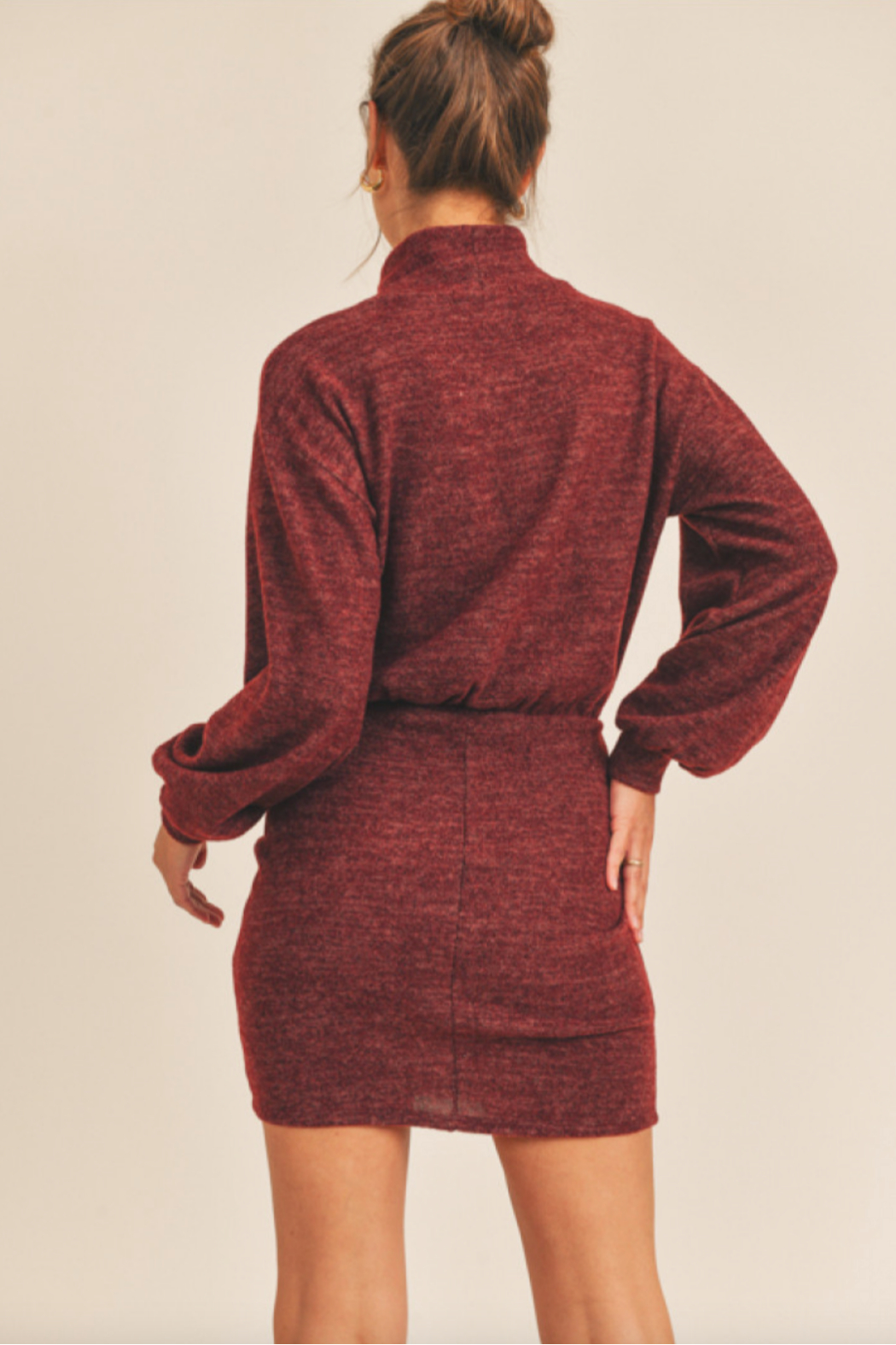 Lush  Cinched Knit Dress - Front Full Image