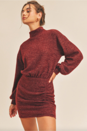 Lush  Cinched Knit Dress - Front cropped