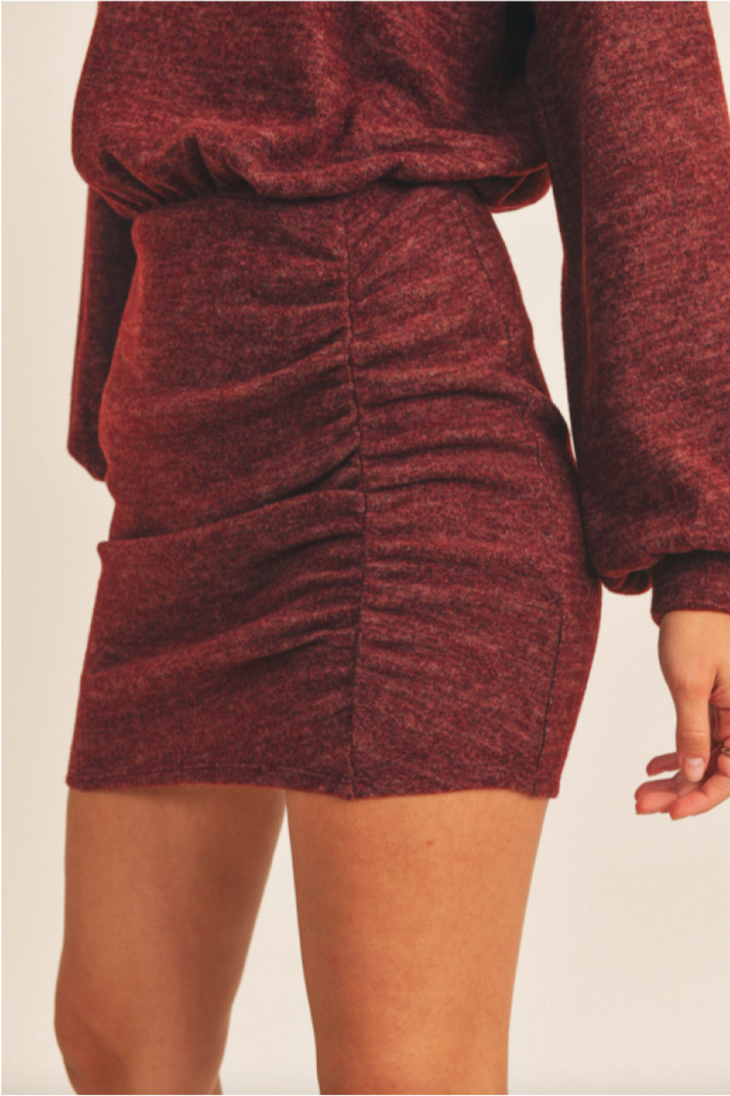 Lush  Cinched Knit Dress - Side Cropped Image