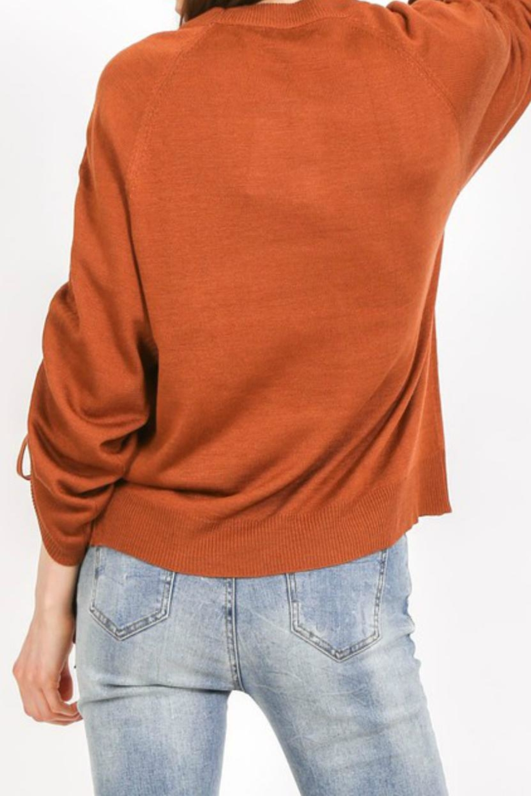 LoveRiche Cinnamon Ruched-Sleeve Sweater - Side Cropped Image