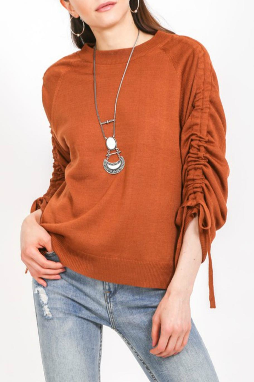 LoveRiche Cinnamon Ruched-Sleeve Sweater - Main Image
