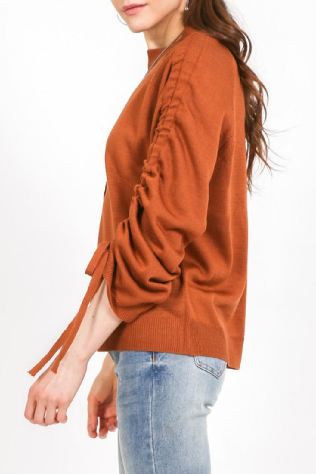LoveRiche Cinnamon Ruched-Sleeve Sweater - Front Full Image