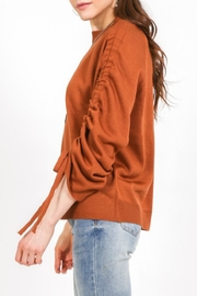 LoveRiche Cinnamon Ruched-Sleeve Sweater - Front full body