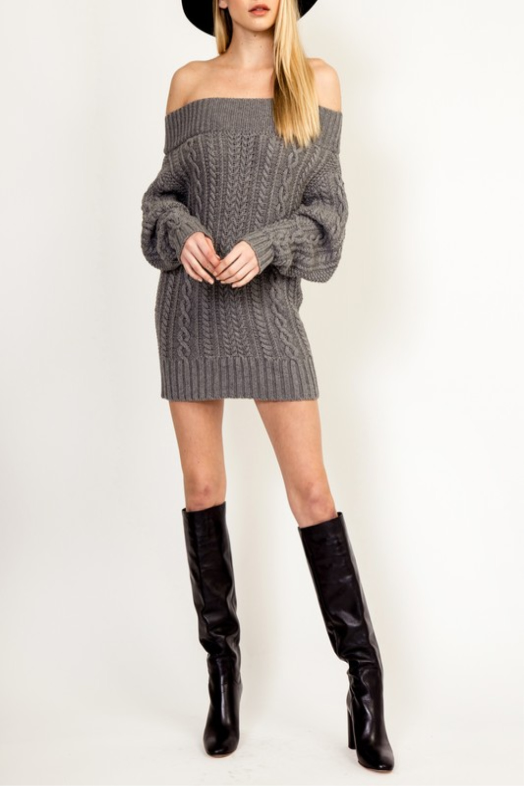 Olivaceous Cinnamon Sweater Dress - Back Cropped Image