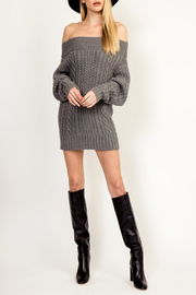 Olivaceous Cinnamon Sweater Dress - Back cropped