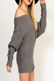 Olivaceous Cinnamon Sweater Dress - Front full body