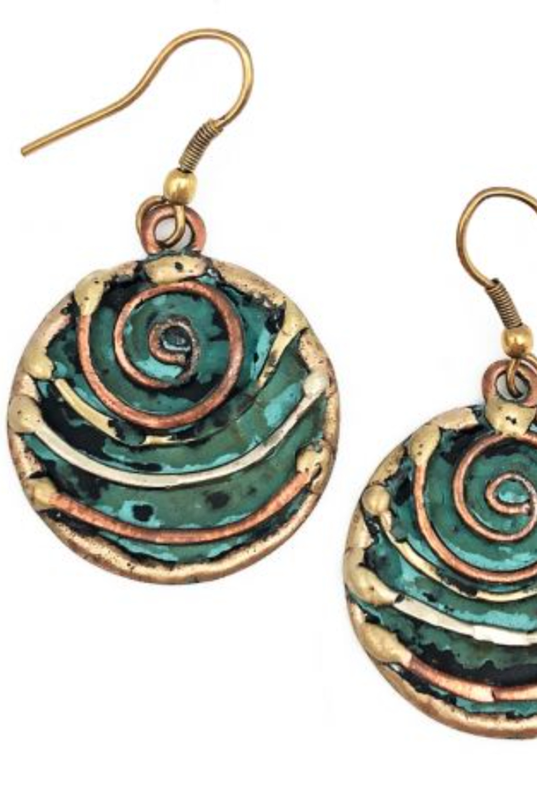 Anju Handcrafted Artisan Jewelry CIRCLE BRONZE /GREEN - Front Cropped Image