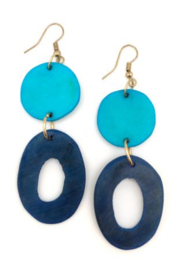 Anju Handcrafted Artisan Jewelry CIRCLES 2 TONE BLUE EARRING - Product Mini Image