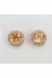Margolin & Co Citrine and Diamond Stud Earrings Halo Studs 14K Yellow Gold November Birthstone - Product Mini Image