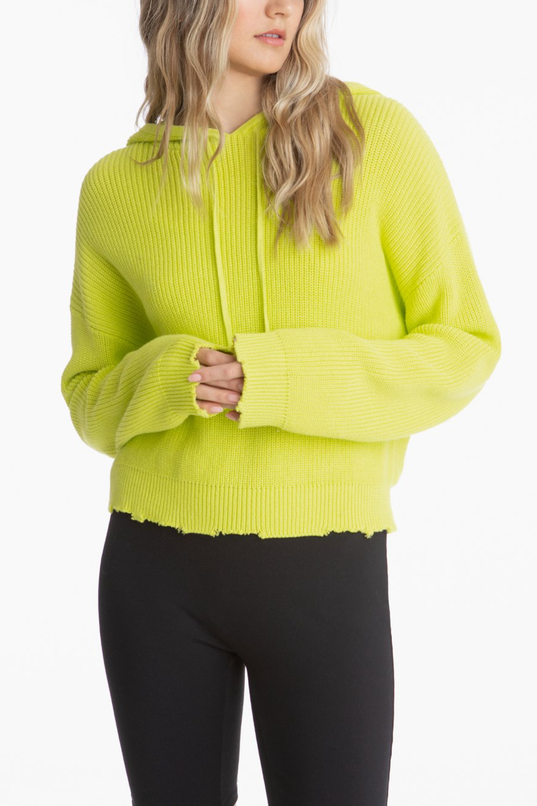 525 America Citron Drop Shoulder Shaker Hoodie - Front Cropped Image