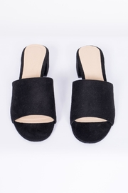City Classified Black Suede Mule Shoes - Side cropped