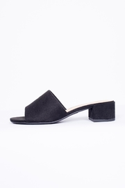 City Classified Black Suede Mule Shoes - Front cropped