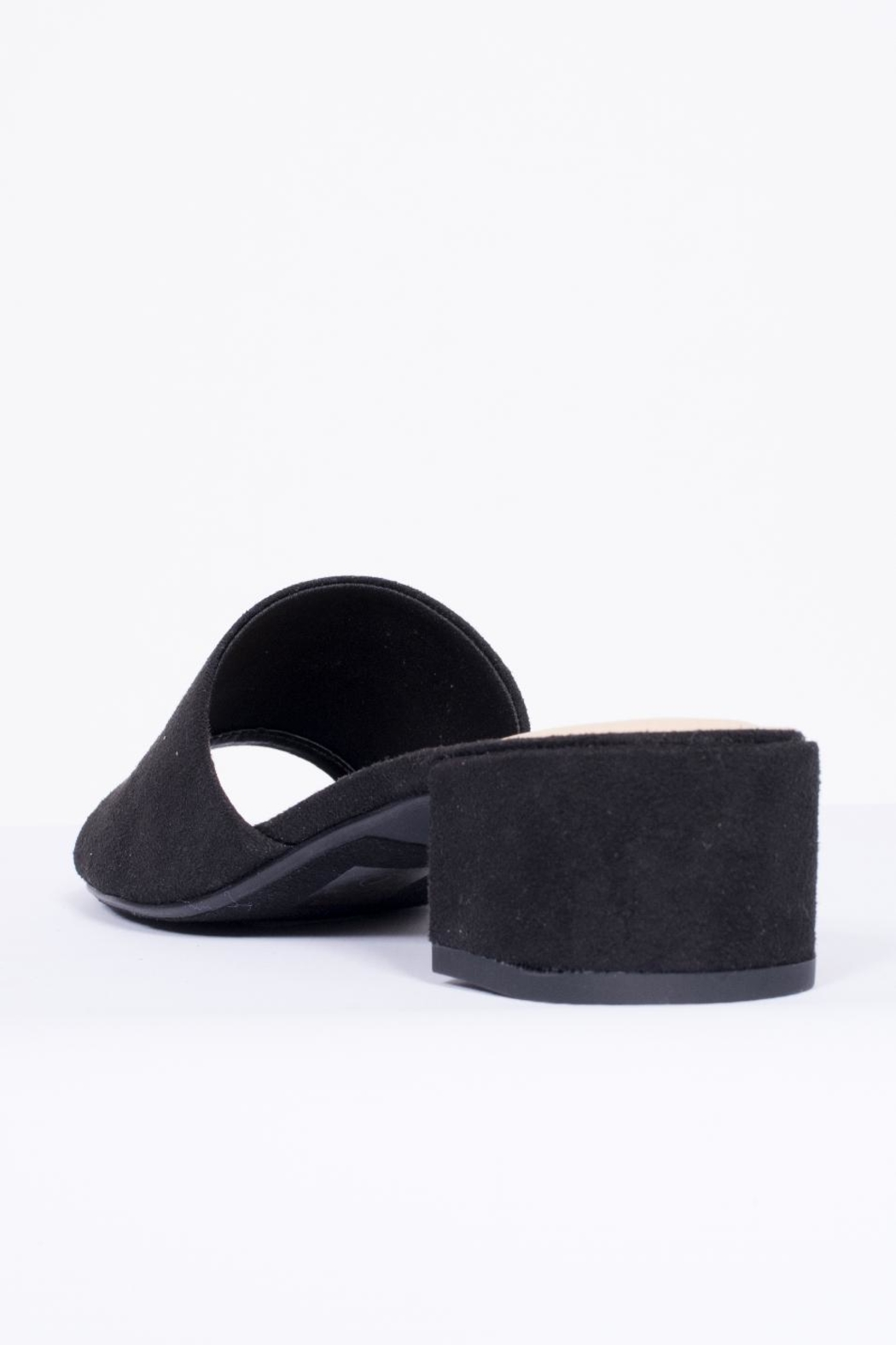 City Classified Black Suede Mule Shoes - Back Cropped Image