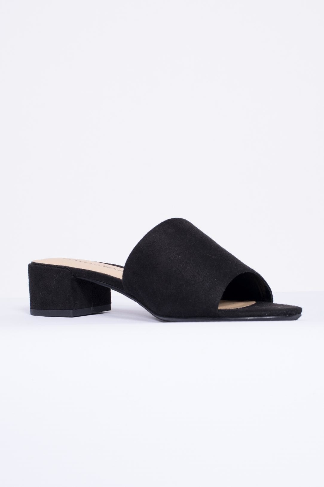 City Classified Black Suede Mule Shoes - Front Full Image