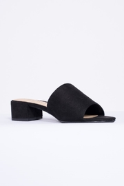 City Classified Black Suede Mule Shoes - Front full body