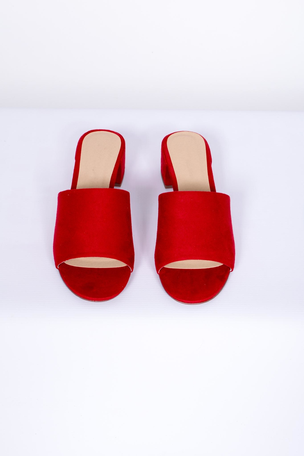 City Classified Red Slip-On Mules - Back Cropped Image