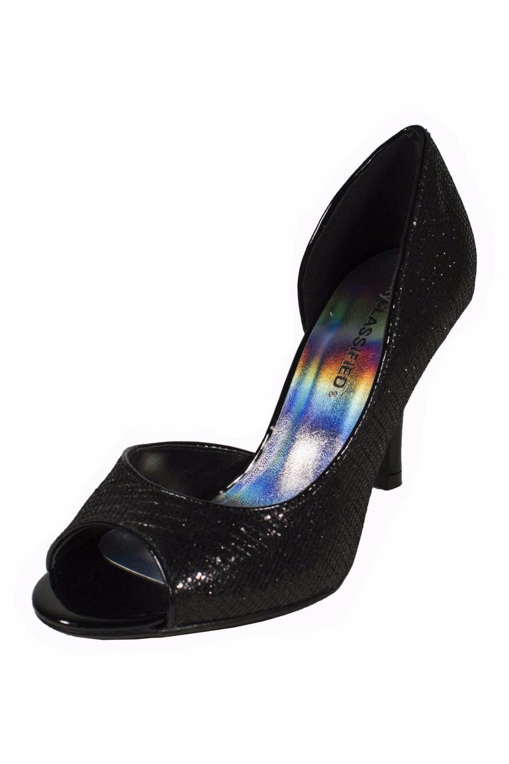 City Classified Sparkly Black Glitter Heel - Side Cropped Image
