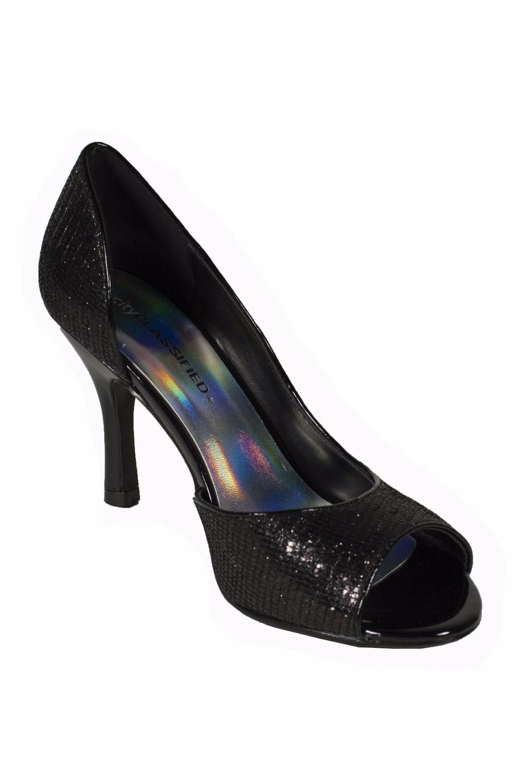 City Classified Sparkly Black Glitter Heel - Front Full Image
