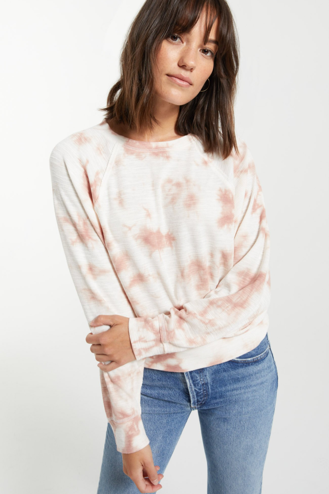 z supply Claire Cloud Tie-Dye Top - Front Full Image