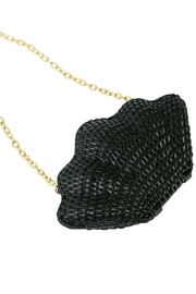 Mud Pie Clam Rattan Clutch - Front cropped
