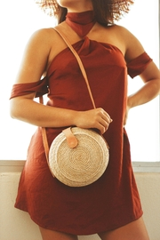 Shebobo Clam Shell Round Straw Crossbody Bag - Front cropped