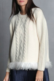 Maude Clara Braided Knit Fuzzy Hem Crew Sweater - Product Mini Image