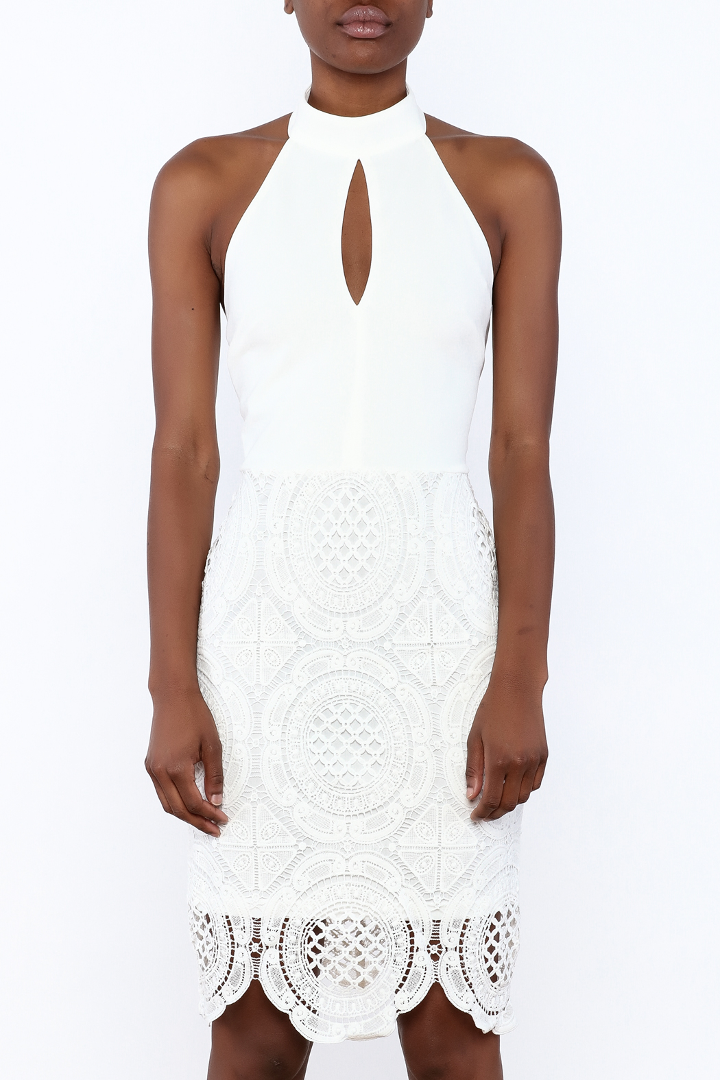 Clara Story White Crochet Knee Dress - Side Cropped Image