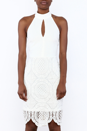 Clara Story White Crochet Knee Dress - Side cropped